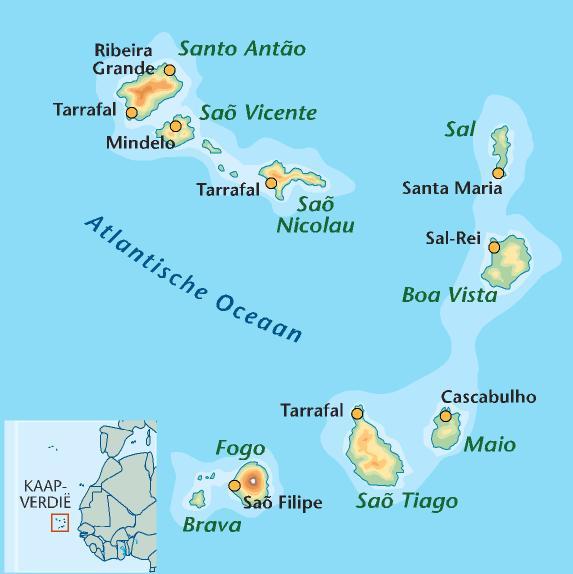 Waar Ligt Kaapverdie.Kaapverdische Eilanden Kaart Kaart